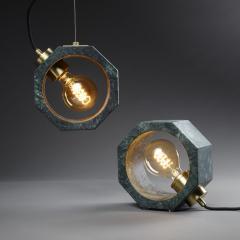 Matlight Milano Contemporary Matlight Essential Octagon Minimalist Table Lamp in Green Marble - 1592116