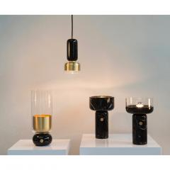 Matlight Milano E Elizarova for Matlight Italian Black Marble Glass and Brass Flute Table Lamp - 1614386