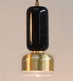 Matlight Milano E Elizarova for Matlight Italian Black Marble Glass and Brass Pendant Light - 1739440