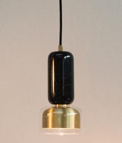 Matlight Milano E Elizarova for Matlight Italian Black Marble Glass and Brass Pendant Light - 1739441