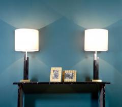 Matlight Milano Italian Art Deco Style Pair of Black White Marble Satin Brass Modern Table Lamps - 1790574