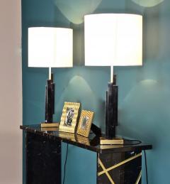 Matlight Milano Italian Art Deco Style Pair of Black White Marble Satin Brass Modern Table Lamps - 1790576