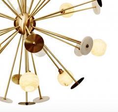 Matlight Milano Modern Italian Alabaster Satin Brass Space Age Style 12 Light Sputnik Chandelier - 1889882