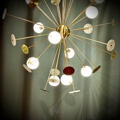 Matlight Milano Modern Italian Alabaster Satin Brass Space Age Style 12 Light Sputnik Chandelier - 1889885