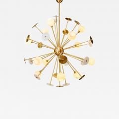 Matlight Milano Modern Italian Alabaster Satin Brass Space Age Style 12 Light Sputnik Chandelier - 1892079