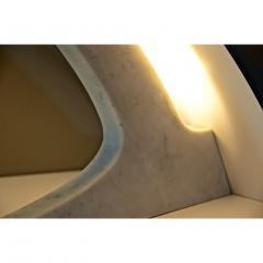 Matlight Milano S Rubertelli for Matlight Italian White Marble and Bronzed Aluminum Table Lamp - 1614306
