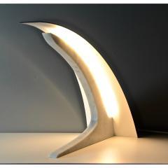 Matlight Milano S Rubertelli for Matlight Italian White Marble and Bronzed Aluminum Table Lamp - 1614307