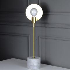 Matlight Milano Vanessa Bespoke Minimalist Italian White Marble Satin Brass Modern Table Lamp - 2015094