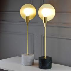 Matlight Milano Vanessa Bespoke Minimalist Italian White Marble Satin Brass Modern Table Lamp - 2015114