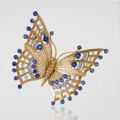 Mauboussin Art Deco Diamond Sapphire and Gold Butterfly Brooch - 160520