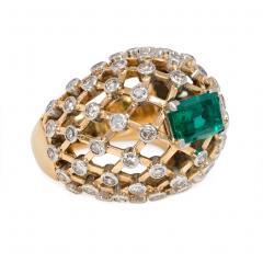 Mauboussin Mauboussin 1960s Gold Emerald and Diamond Bomb Lattice Cocktail Ring - 1830165