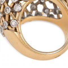 Mauboussin Mauboussin 1960s Gold Emerald and Diamond Bomb Lattice Cocktail Ring - 1830167