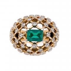 Mauboussin Mauboussin 1960s Gold Emerald and Diamond Bomb Lattice Cocktail Ring - 1830285