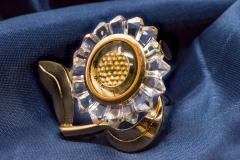 Mauboussin Rare 1950s Mauboussin Hand Carved Rock Crystal Sun Flower Form Lapel Watch - 439931