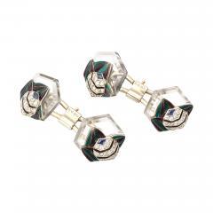 Mauboussin Rock Crystal Enamel Diamond Cufflinks by Mauboussin - 556135
