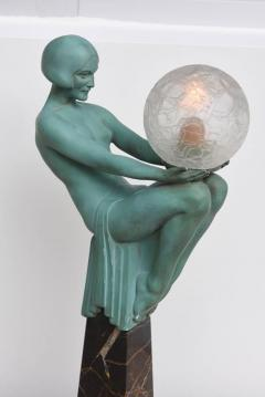 Max Le Verrier Art Deco Figural Female Sculpture Table Lamp Titled Engime by Max Le Verrier - 945602