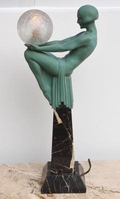 Max Le Verrier Art Deco Figural Female Sculpture Table Lamp Titled Engime by Max Le Verrier - 945603