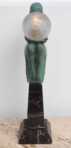 Max Le Verrier Art Deco Figural Female Sculpture Table Lamp Titled Engime by Max Le Verrier - 945605