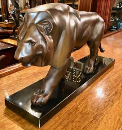 Max Le Verrier French Art Deco Sculpture of a Walking Lion King by Max Le Verrier - 1386893