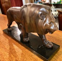 Max Le Verrier French Art Deco Sculpture of a Walking Lion King by Max Le Verrier - 1386902
