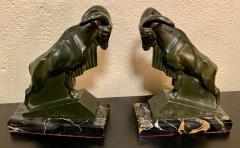 Max Le Verrier Max Le Verrier 1930s French Mountain Ram Goat Sculpture Bookends - 1418283