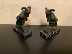 Max Le Verrier Max Le Verrier 1930s French Mountain Ram Goat Sculpture Bookends - 1418286