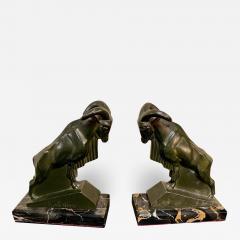 Max Le Verrier Max Le Verrier 1930s French Mountain Ram Goat Sculpture Bookends - 1418475
