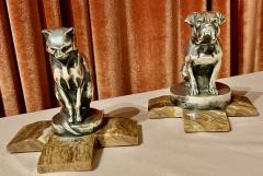 Max Le Verrier Max Le Verrier Bookends Statues of Dog and Cat French Art Deco - 1748823