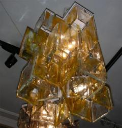 Mazzega Murano 1960s glass chandelier made of assembled plaques Mazzega in Murano - 909462