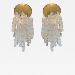 Mazzega Murano A Pair Italian Modern Handblown Glass and Brass Chandeliers Mazzega - 1365983