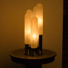 Mazzega Murano An Italian Mazzega Murano style glass chrome five light table lamp circa 1970 - 2033551