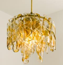 Mazzega Murano Brass Cear and Amber Spiral Glass Torciglione Chandelier by Mazzega 1970 - 1000059