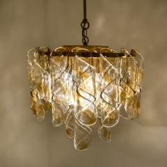 Mazzega Murano Brass Cear and Amber Spiral Glass Torciglione Chandelier by Mazzega 1970 - 1000060