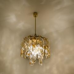 Mazzega Murano Brass Cear and Amber Spiral Glass Torciglione Chandelier by Mazzega 1970 - 1000061