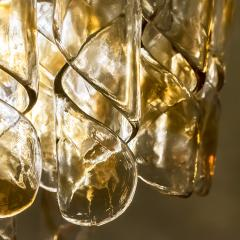 Mazzega Murano Brass Cear and Amber Spiral Glass Torciglione Chandelier by Mazzega 1970 - 1000062