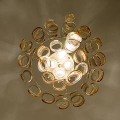 Mazzega Murano Brass Cear and Amber Spiral Glass Torciglione Chandelier by Mazzega 1970 - 1000063