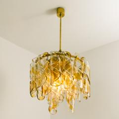 Mazzega Murano Brass Cear and Amber Spiral Glass Torciglione Chandelier by Mazzega 1970 - 1000064