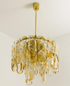 Mazzega Murano Brass Cear and Amber Spiral Glass Torciglione Chandelier by Mazzega 1970 - 1000065