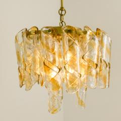 Mazzega Murano Brass Cear and Amber Spiral Glass Torciglione Chandelier by Mazzega 1970 - 1000066