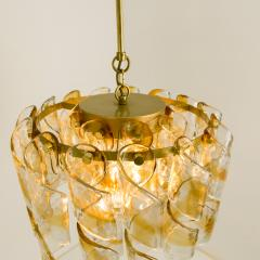 Mazzega Murano Brass Cear and Amber Spiral Glass Torciglione Chandelier by Mazzega 1970 - 1000067