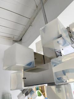 Mazzega Murano Chandelier Murano Glass Cube and Metal by Mazzega Italy 1970s - 2018862