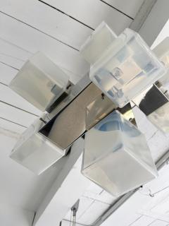 Mazzega Murano Chandelier Murano Glass Cube and Metal by Mazzega Italy 1970s - 2018863