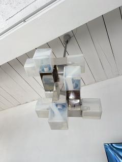 Mazzega Murano Chandelier Murano Glass Cube and Metal by Mazzega Italy 1970s - 2018864