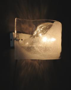 Mazzega Murano Italian Mazzega Wall Sonces of Cast Murano Glass In Clear and White Glass - 1315259