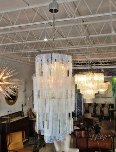 Mazzega Murano Italian Modern Iridescent Hand Blown Glass Chandelier - 752637