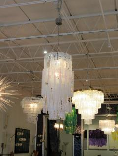 Mazzega Murano Italian Modern Iridescent Hand Blown Glass Chandelier - 752645