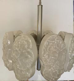 Mazzega Murano Italian Modern Nickel and Handblown Glass 6 Arm Chandelier Mazzega - 1752611