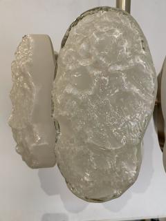 Mazzega Murano Italian Modern Nickel and Handblown Glass 6 Arm Chandelier Mazzega - 1752614