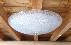 Mazzega Murano Large Mid Century Modern white Murano glass flush mount light by Mazzega 1970s - 1125218
