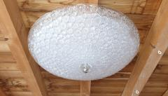 Mazzega Murano Large Mid Century Modern white Murano glass flush mount light by Mazzega 1970s - 1125221